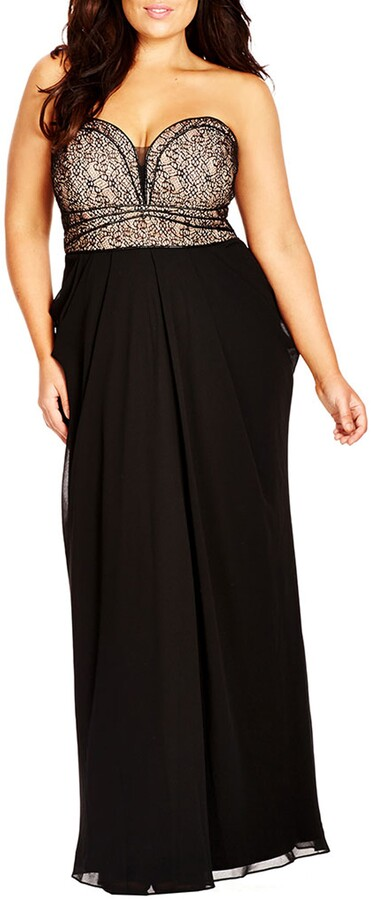 City Chic Motown Strapless Lace & Chiffon Gown