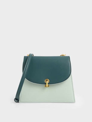 Charles & Keith Two-Tone Mini Trapeze Crossbody Bag