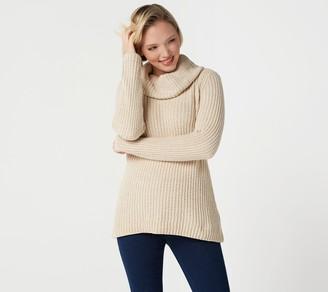 Denim & Co. Chenille Cowl-Neck Long-Sleeve Sweater