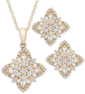 "Wrapped in Love 2-Pc. Set Diamond Flower Cluster 20"" Pendant Necklace and Matching Stud Earrings (1 ct. t.w.) in 14k Gold"