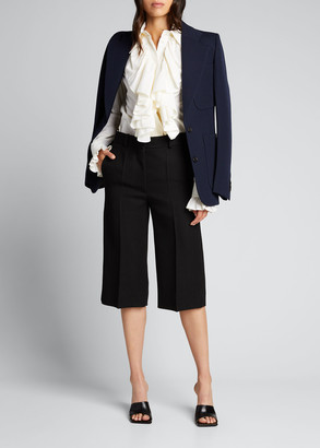 Victoria Beckham Ruffle-Front Button-Down Shirt