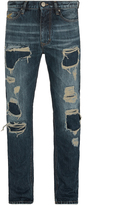 Vivienne Westwood Anglomania Classic Tapered Jeans Distressed Blue Denim Size 28