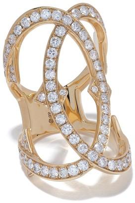 Loree Rodkin 18kt Yellow Gold Large Interlink Pave Diamond Ring