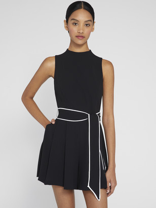 Alice + Olivia Harlan Pleated Romper With Belt