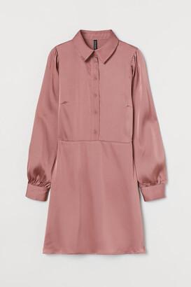 H&M Puff-sleeved Shirt Dress - Pink