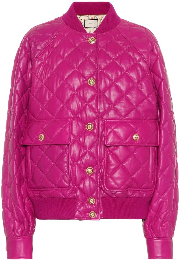 3ab7f4420 Quilted leather bomber jacket