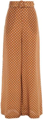 Zimmermann Belted Polka-dot Silk Crepe De Chine Wide-leg Pants