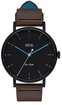 Vestal 'Sophisticate' Swiss Quartz Stainless Steel and Leather Dress Watch, Color:Brown (Model: SPH3L07)