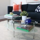Walker Edison Metal Coffee Table with Frosted Glass