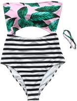 Seaselfie Women's High-Waisted Tie-Back One Piece Halter Swimsuit Medium