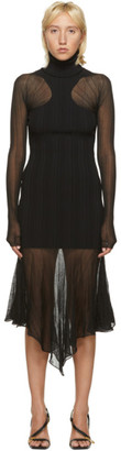 Thierry Mugler Black Sheer Peaking Long Sleeve Dress