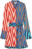 Diane von Furstenberg Printed Silk-twill Mini Dress - Blue