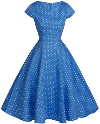 Fairy Couple 1950s retro rockabilly polka dots cap sleeves prom dress DRT019 - - L