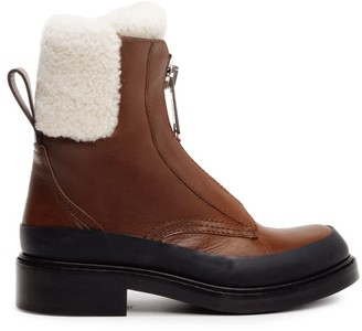 Chloé Roy Shearling-Lined Leather Combat Boots