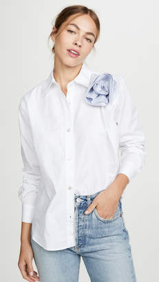 Clu Shirt With Contrast Ruched Flower Detail
