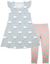 Gray Bunny Angel-Sleeve Dress & Turquoise Dot Leggings - Girls