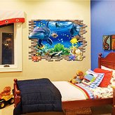 AISSION Wall Stickers Dolphin Turtle Wall Stickers, Living Room Sofa Background Paste Dolphin Turtle Sea World, 70X100Cm
