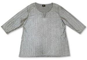 JM Collection Plus Size Foil Ribbed Knit Top, Created for Macy's