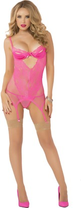 Seven Til Midnight SEVEN 'TIL MIDNIGHT Women's 2 Piece Lace and Fishnet Chemise
