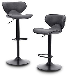 Overstock PHI VILLA Adjustable Height Bar Stool, PU Leather Swivel Chair with Padded Mid Back, Metal Base Bar Stool - Set of 2, Gray