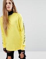 Criminal Damage Oversized Long Sleeve T-Shirt With Gothic Arm Text