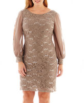 JCPenney Scarlett Long-Sleeve Lace and Chiffon Dress - Plus