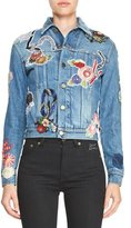 Saint Laurent Signature Embroidered Jean Jacket, Blue