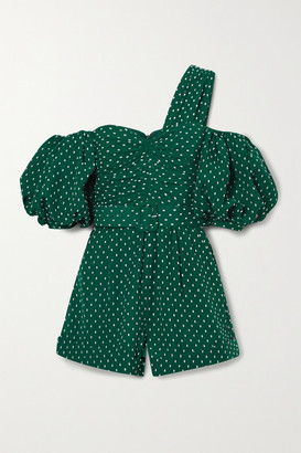 Self-Portrait One-shoulder Belted Fil Coupe Crepe Playsuit - Green