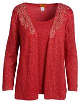 Ruby Rd. Women's Cardigans REDGLD - Red Metallic Embellished Open Cardigan & Tank Top - Women