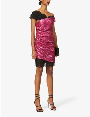 Dundas Asymmetric-neck embellished mini dress
