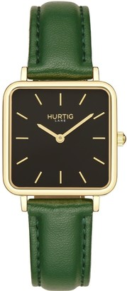 Hurtig Lane Nelio Square Vegan Leather Watch Gold/Black/Green