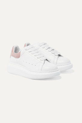 ALEXANDER MCQUEEN KIDS Suede-trimmed Leather Exaggerated-sole Sneakers - Pink