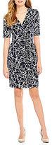 Ivanka Trump Faux-Wrap Floral Print Elbow-Length Sleeve Matte Jersey Dress