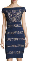Jax Boat-Neck Cap-Sleeve Lace-Panel Dress, Navy