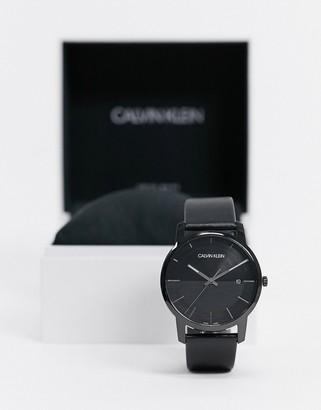 Calvin Klein black strap watch with black dial