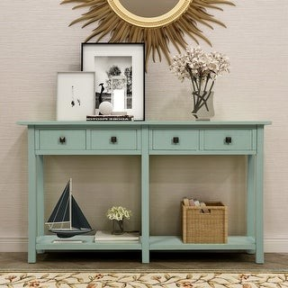 Parrot Uncle Rustic Tiffany Blue 4-Drawers Entryway Console Table