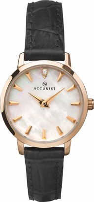 Accurist Womens Analogue Classic Quartz Watch with Leather Strap 8228