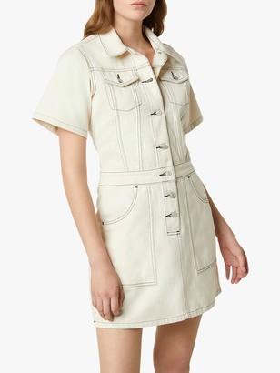 French Connection Rika-Seeded Denim Shirt Dress, Ecru