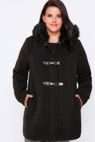 Yours Clothing Black Duffle Coat With Fur Trim Hood