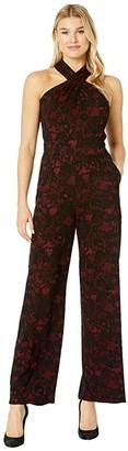 MICHAEL Michael Kors Glam Lace Halter Neck Jumpsuit (Red Currant) Women's Jumpsuit & Rompers One Piece