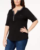 Karen Scott Plus Size Cotton Contrast-Trim Henley Top, Created for Macy's