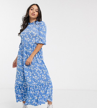 Asos DESIGN Petite daisy tiered smock dress in blue