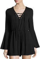 Glamorous Lace-Up Flared Romper, Black