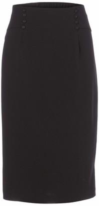 Slim Sation SLIM-SATION Women's No Waist DBL Button Front Pull-on Knit Slim Skirt