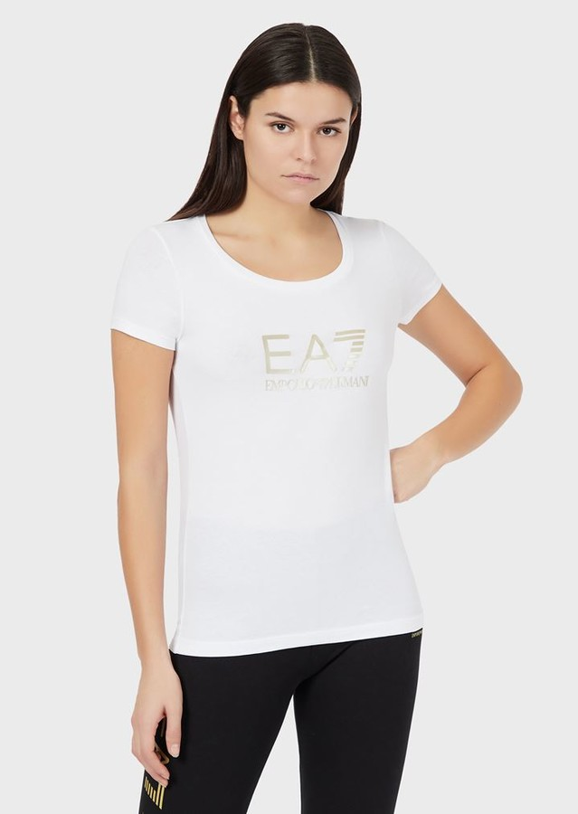 Ea7 Stretch Jersey T-Shirt With Logo