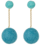 Yochi Drop Pompom Earrings