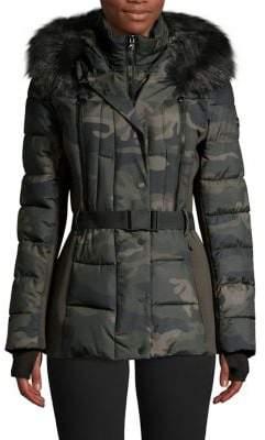 MICHAEL Michael Kors Belted Faux Fur Hood Gilet Quilt Coat