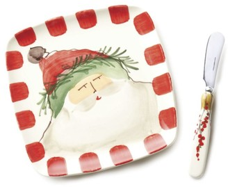 Vietri Two-Piece Old St. Nick Plate & Spreader Set