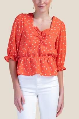francesca's Vivian Floral Peplum Blouse - Orange