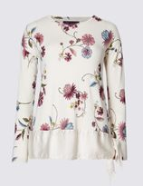 Marks and Spencer Floral Print Tie Hem Long Sleeve Jersey Top
